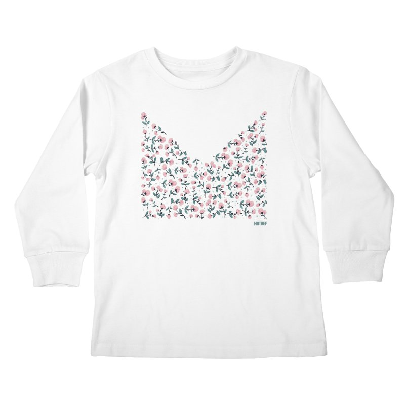 Skull Flowers Kids Longsleeve T-Shirt by Mothef