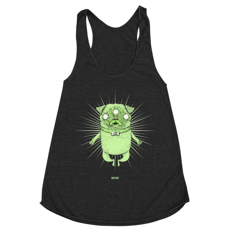 Miracle Pug Women's Racerback Triblend Tank by Mothef