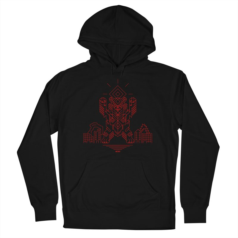 Mecha Kaiju Hipster Bear Men's French Terry Pullover Hoody by Mothef