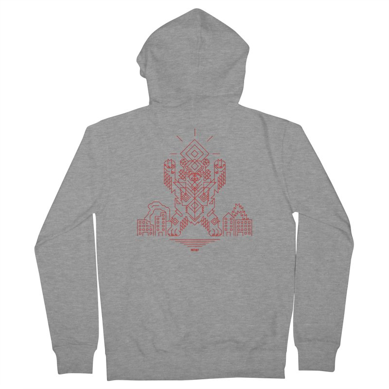 Mecha Kaiju Hipster Bear Women's French Terry Zip-Up Hoody by Mothef