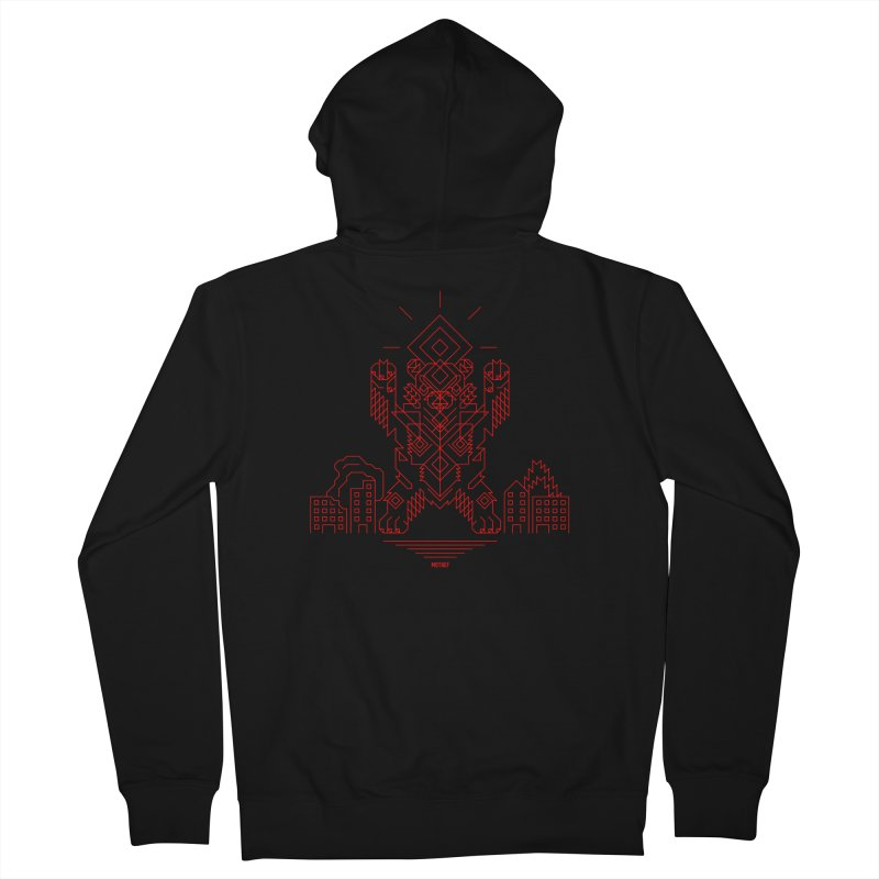 Mecha Kaiju Hipster Bear Men's French Terry Zip-Up Hoody by Mothef