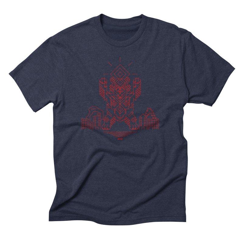 Mecha Kaiju Hipster Bear Men's Triblend T-Shirt by Mothef