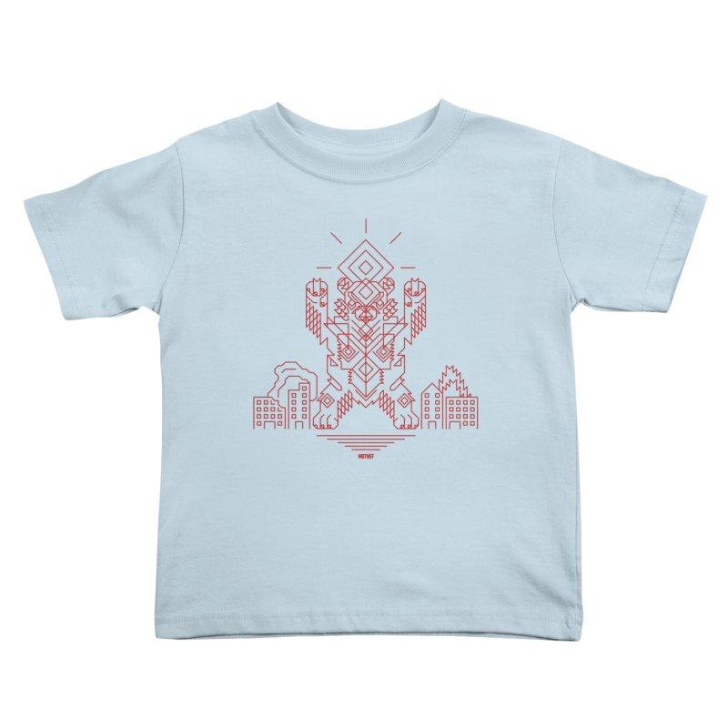 Mecha Kaiju Hipster Bear Kids Toddler T-Shirt by Mothef