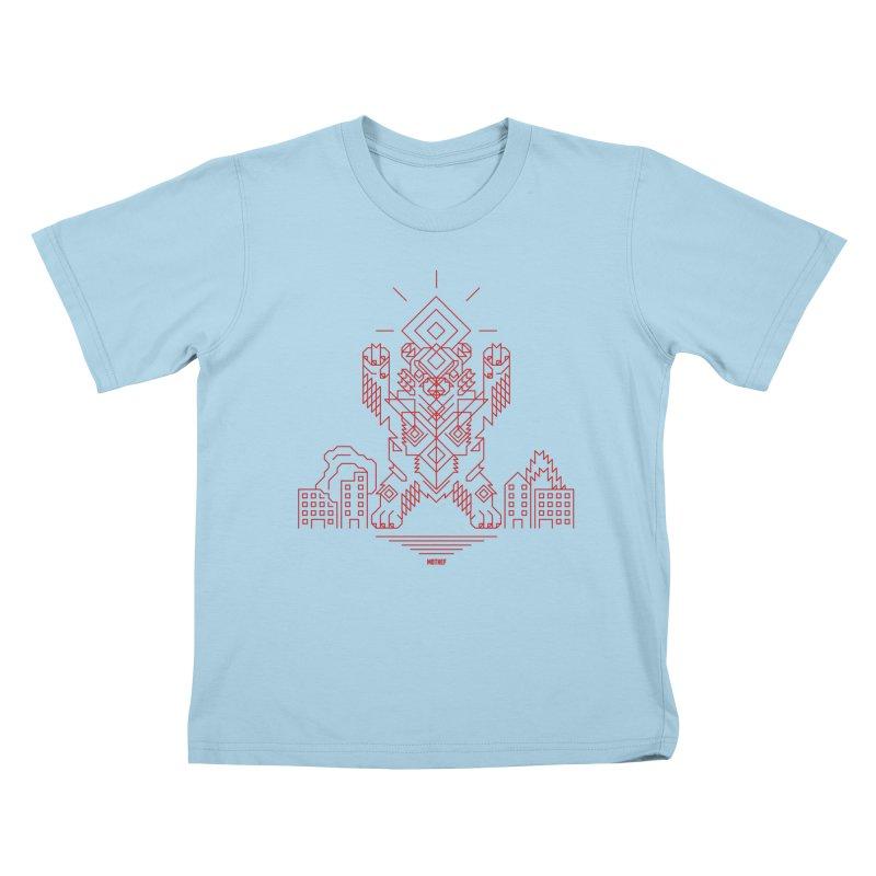 Mecha Kaiju Hipster Bear Kids T-Shirt by Mothef
