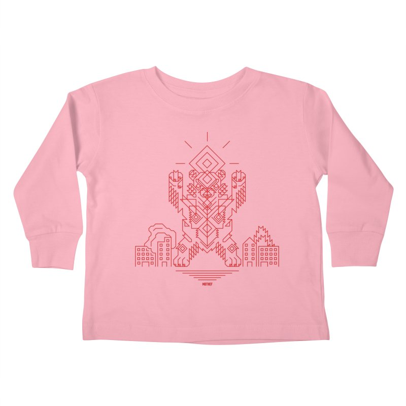 Mecha Kaiju Hipster Bear Kids Toddler Longsleeve T-Shirt by Mothef