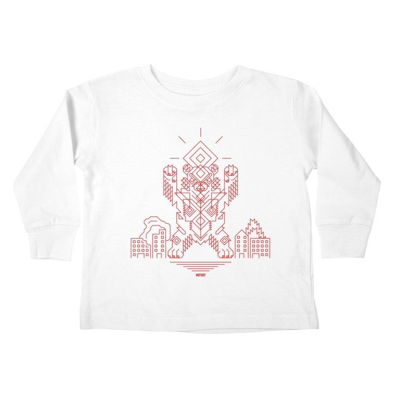 Mecha Kaiju Hipster Bear Kids Toddler Longsleeve T-Shirt by Mothef