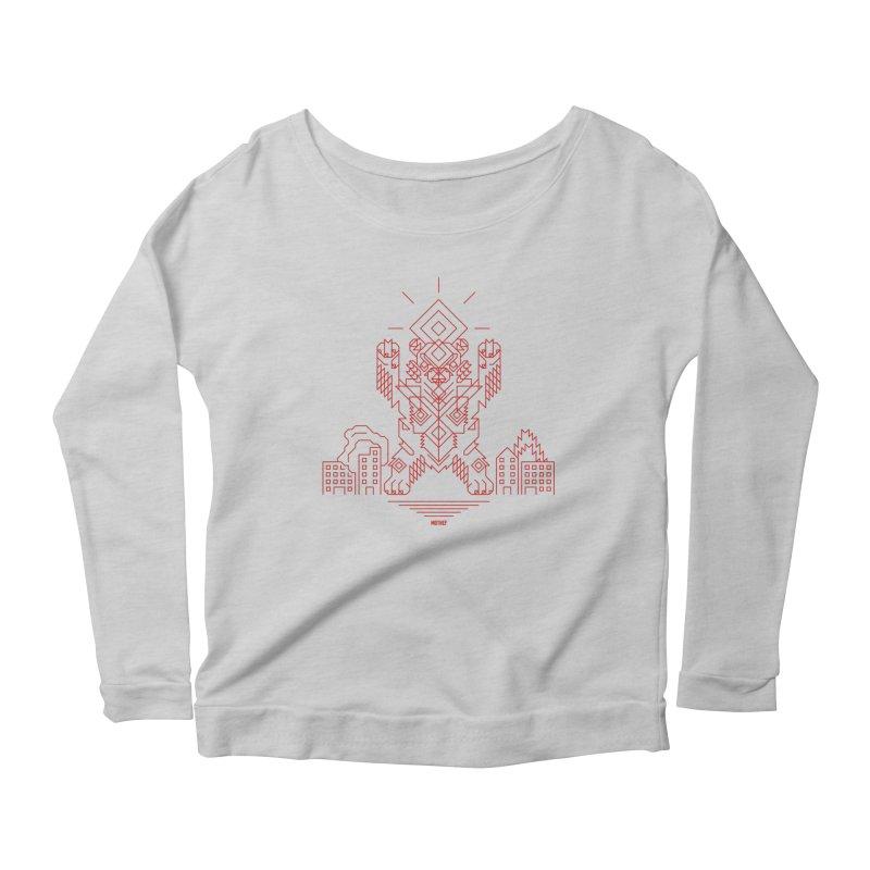 Mecha Kaiju Hipster Bear Women's Scoop Neck Longsleeve T-Shirt by Mothef