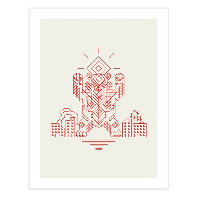 Mecha Kaiju Hipster Bear Home Fine Art Print by Mothef