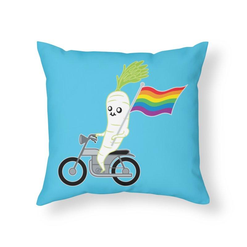 Daikon Bike Home Throw Pillow by Mouki K. Butt: Artist Shop