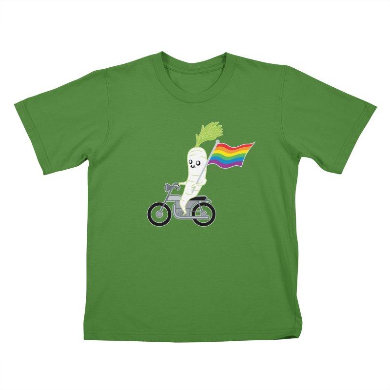 Daikon Bike Kids T-Shirt by Mouki K. Butt: Artist Shop