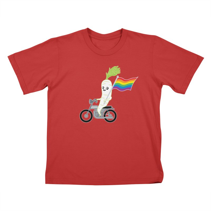Daikon Bike Kids T-Shirt by Mouki K. Butt: Artist Shop
