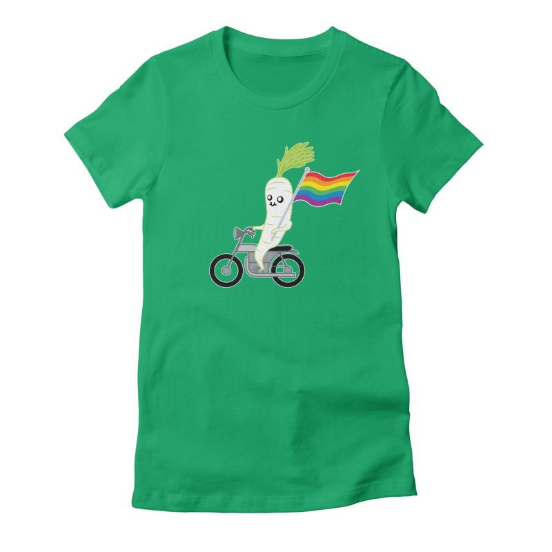Daikon Bike Women's Fitted T-Shirt by Mouki K. Butt: Artist Shop