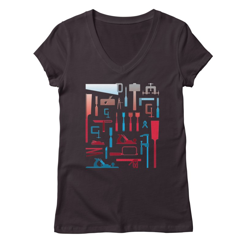 Woodworking Tools I Women's V-Neck by Mouki K. Butt: Artist Shop