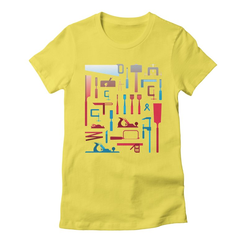 Woodworking Tools I Women's Fitted T-Shirt by Mouki K. Butt: Artist Shop