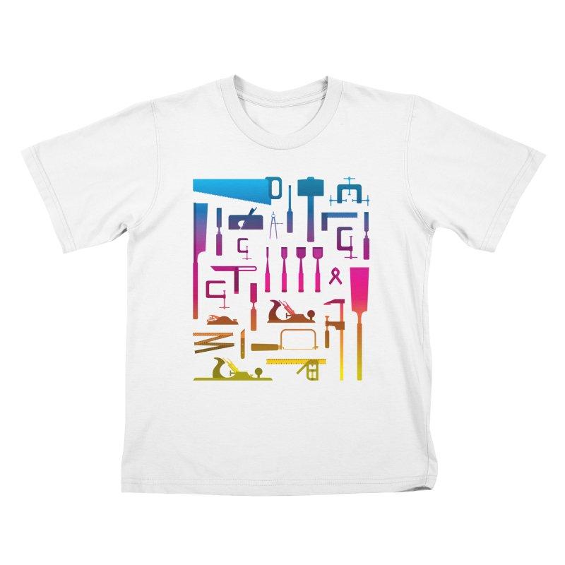 Woodworking Tools II Kids T-Shirt by Mouki K. Butt: Artist Shop