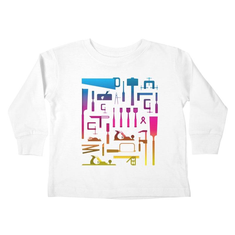 Woodworking Tools II Kids Toddler Longsleeve T-Shirt by Mouki K. Butt: Artist Shop