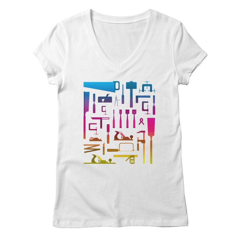 Woodworking Tools II Women's V-Neck by Mouki K. Butt: Artist Shop