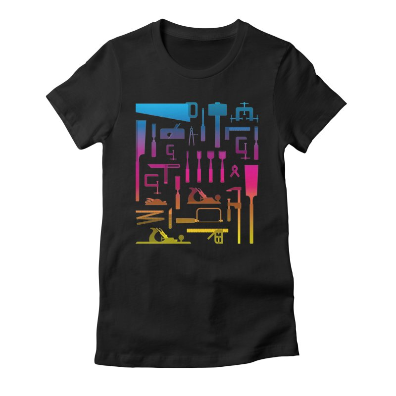 Woodworking Tools II Women's Fitted T-Shirt by Mouki K. Butt: Artist Shop