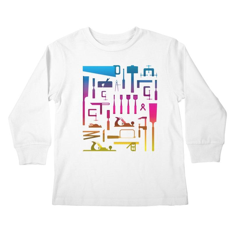 Woodworking Tools II Kids Longsleeve T-Shirt by Mouki K. Butt: Artist Shop
