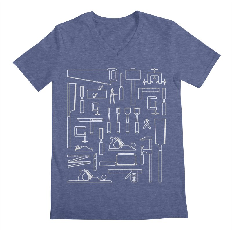 Woodworking Tools III Men's V-Neck by Mouki K. Butt: Artist Shop