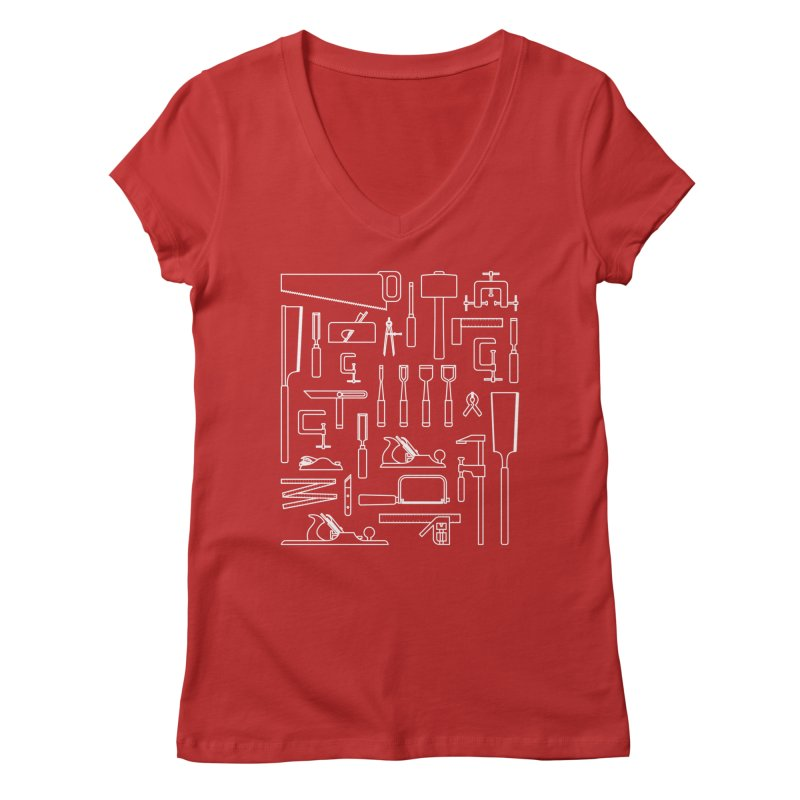 Woodworking Tools III Women's V-Neck by Mouki K. Butt: Artist Shop