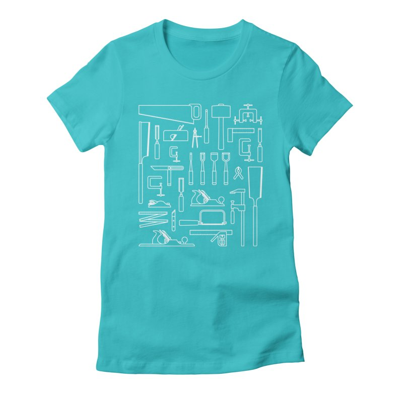 Woodworking Tools III Women's Fitted T-Shirt by Mouki K. Butt: Artist Shop