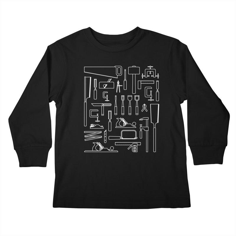 Woodworking Tools III Kids Longsleeve T-Shirt by Mouki K. Butt: Artist Shop