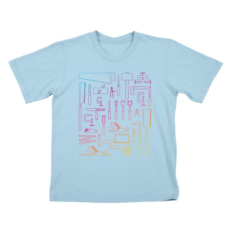 Woodworking Tools IV Kids T-Shirt by Mouki K. Butt: Artist Shop