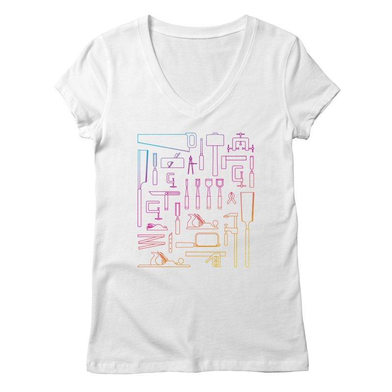 Woodworking Tools IV Women's V-Neck by Mouki K. Butt: Artist Shop