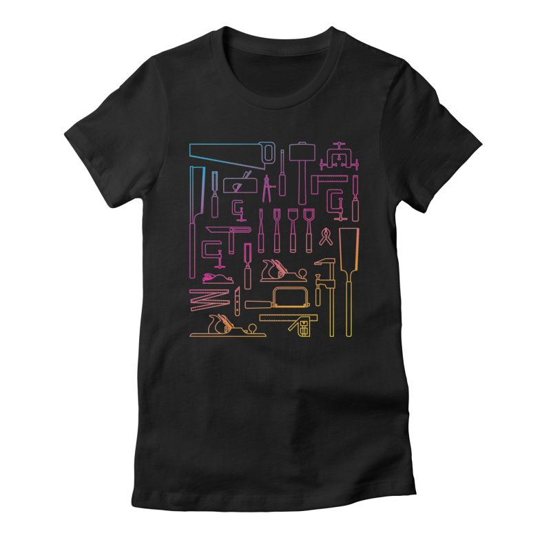 Woodworking Tools IV Women's Fitted T-Shirt by Mouki K. Butt: Artist Shop