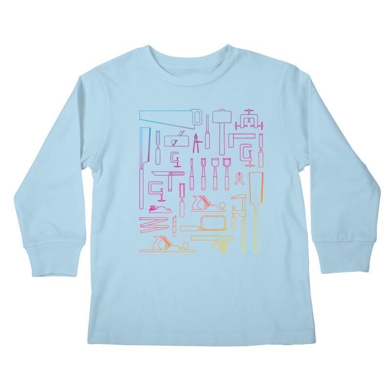 Woodworking Tools IV Kids Longsleeve T-Shirt by Mouki K. Butt: Artist Shop