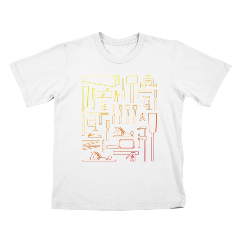 Woodworking Tools V Kids T-Shirt by Mouki K. Butt: Artist Shop