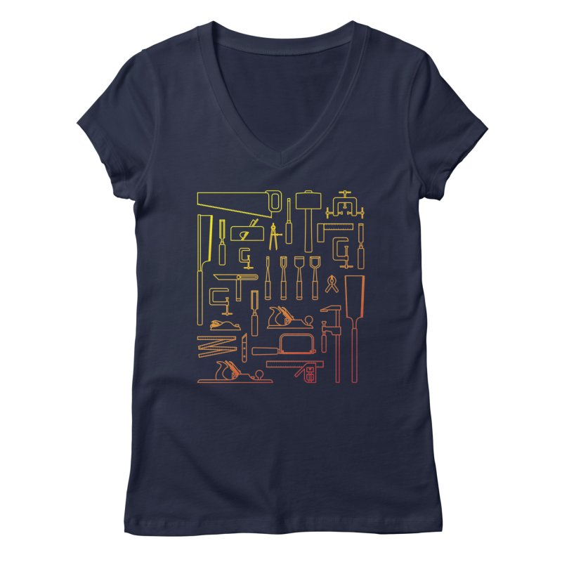 Woodworking Tools V Women's V-Neck by Mouki K. Butt: Artist Shop