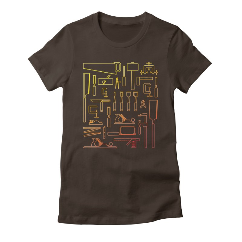 Woodworking Tools V Women's Fitted T-Shirt by Mouki K. Butt: Artist Shop