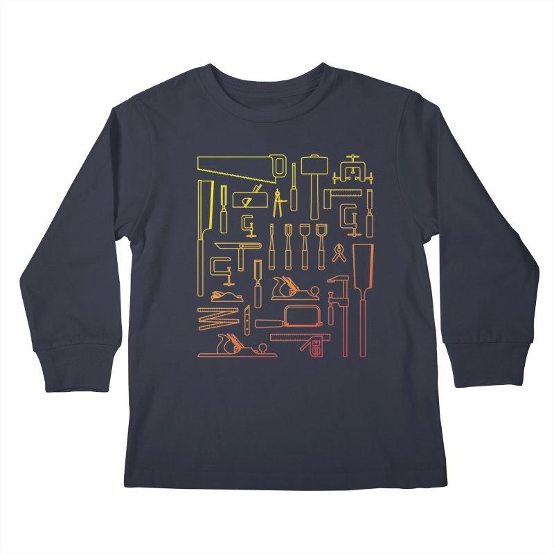 Woodworking Tools V Kids Longsleeve T-Shirt by Mouki K. Butt: Artist Shop