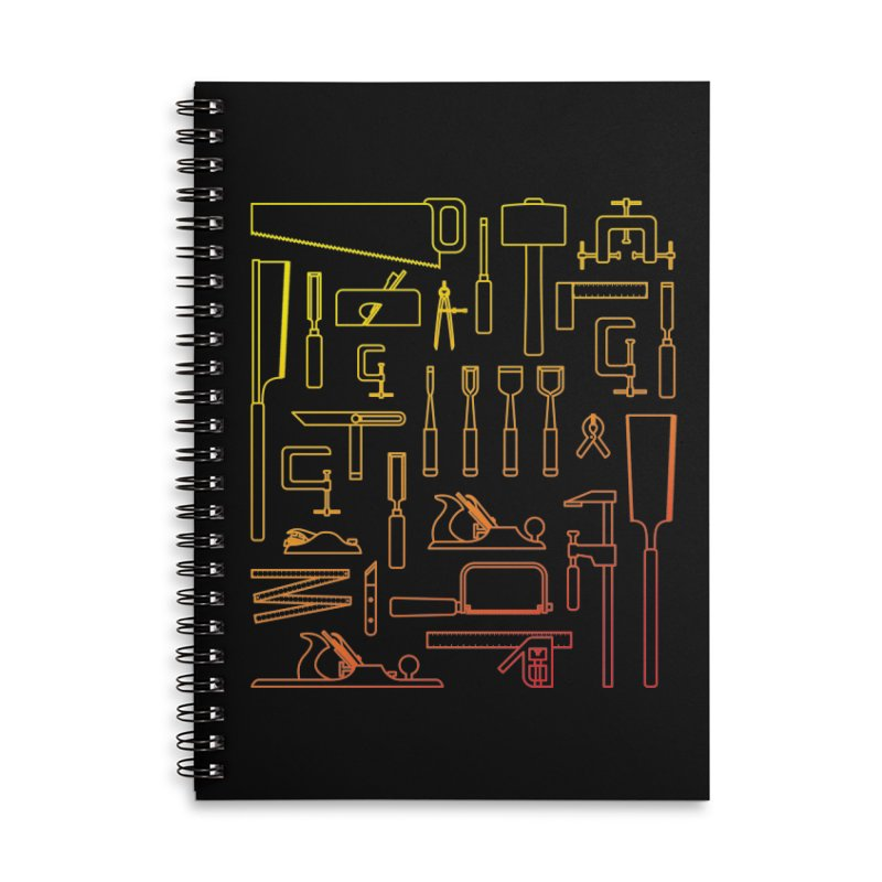 Woodworker's Toolkit Accessories Lined Spiral Notebook by Mouki K. Butt: Artist Shop