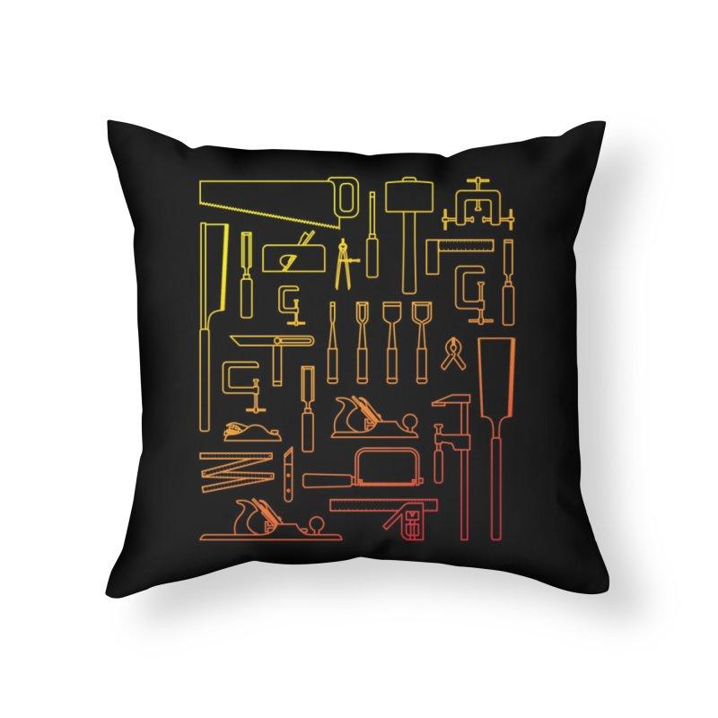 Woodworker's Toolkit Home Throw Pillow by Mouki K. Butt: Artist Shop