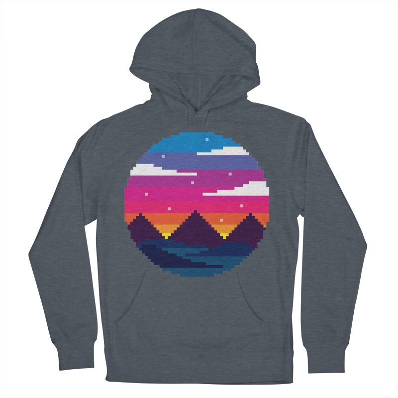 Pixel Sunset Men's French Terry Pullover Hoody by Mouki K. Butt: Artist Shop