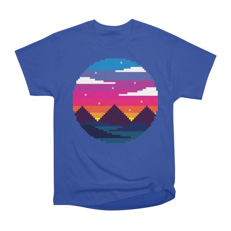 Pixel Sunset Men's Heavyweight T-Shirt by Mouki K. Butt: Artist Shop