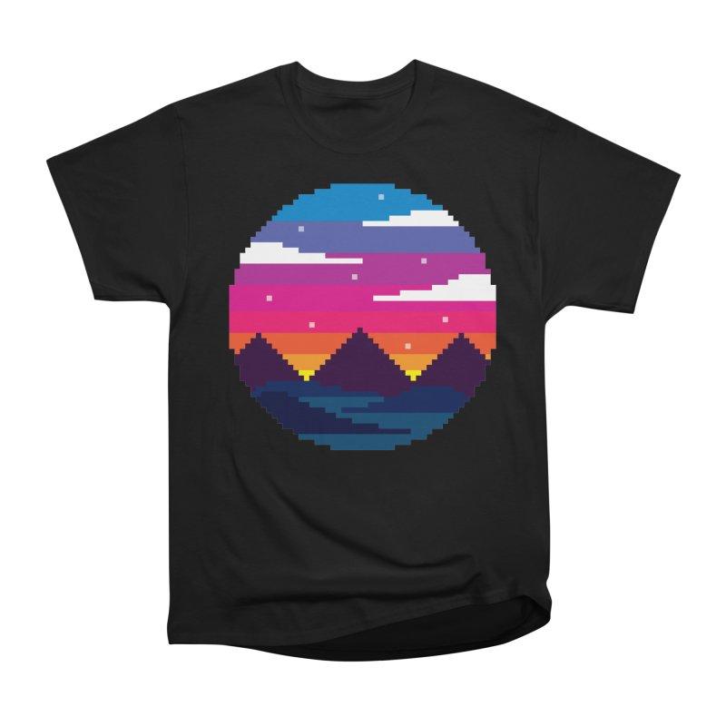 Pixel Sunset Women's Classic Unisex T-Shirt by Mouki K. Butt: Artist Shop