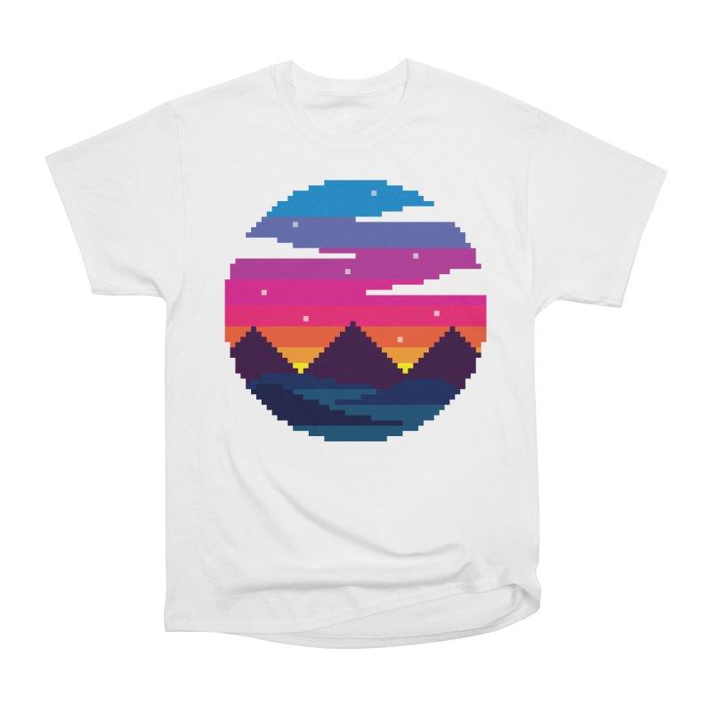 Pixel Sunset Women's Heavyweight Unisex T-Shirt by Mouki K. Butt: Artist Shop