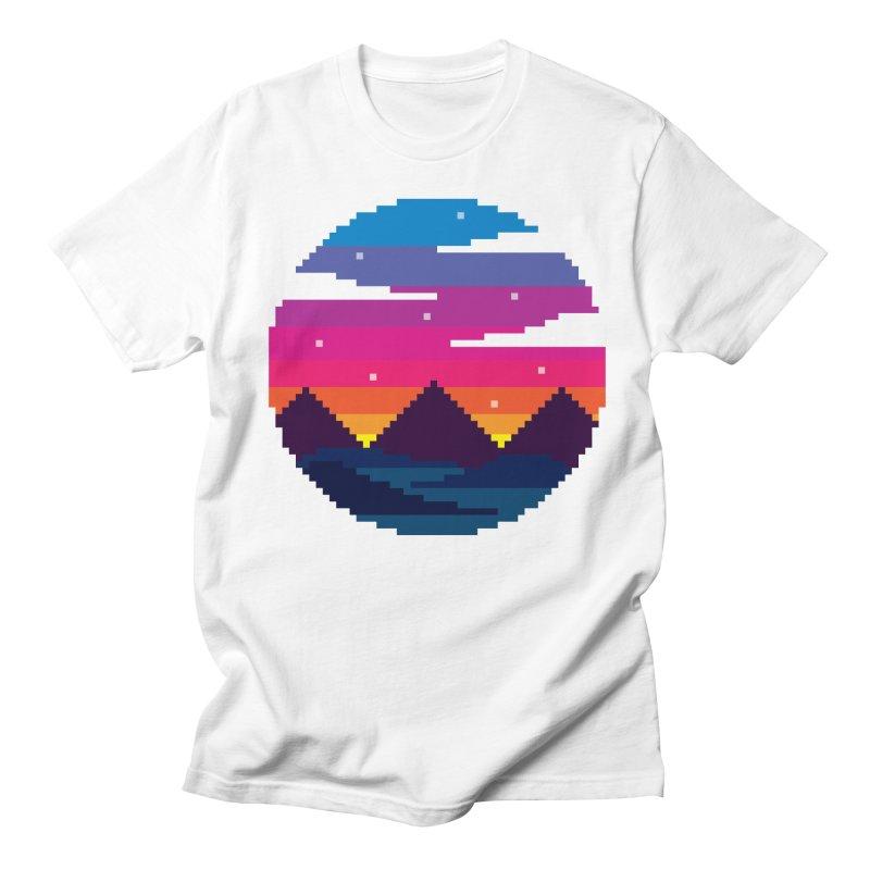 Pixel Sunset Men's Regular T-Shirt by Mouki K. Butt: Artist Shop