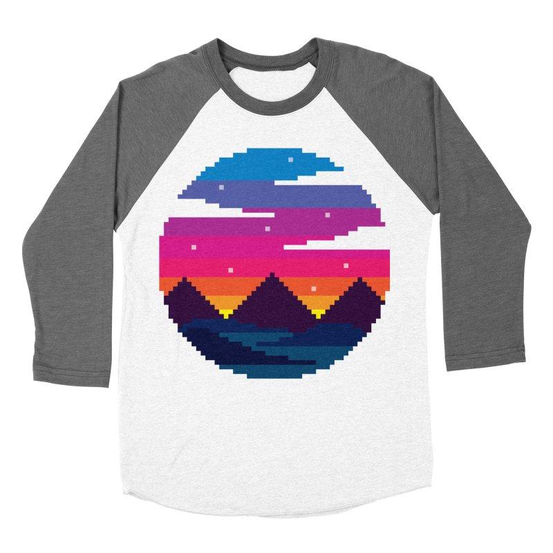Pixel Sunset Women's Baseball Triblend Longsleeve T-Shirt by Mouki K. Butt: Artist Shop