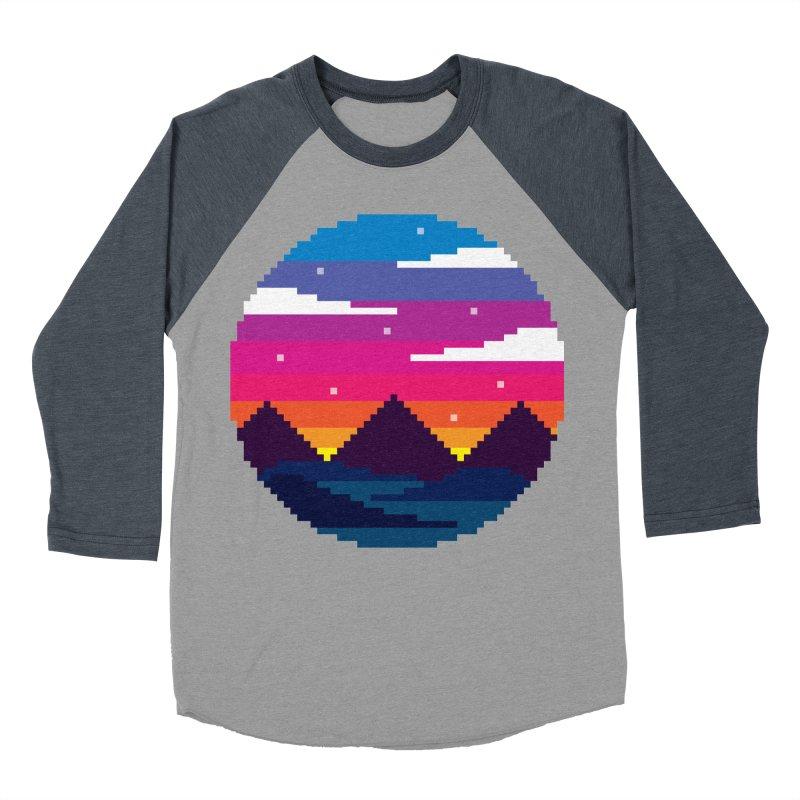 Pixel Sunset Women's Baseball Triblend T-Shirt by Mouki K. Butt: Artist Shop
