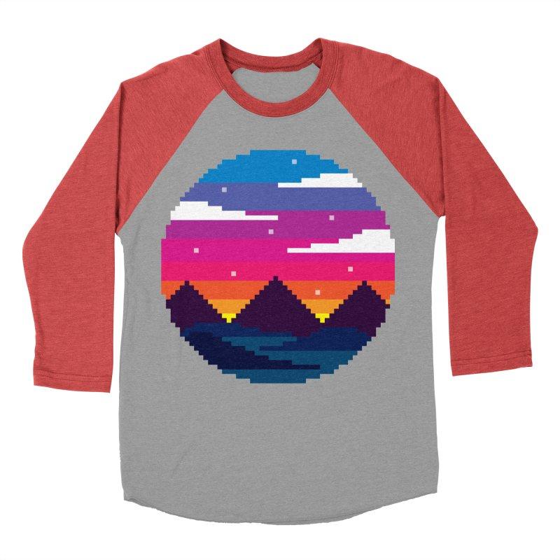Pixel Sunset Men's Baseball Triblend T-Shirt by Mouki K. Butt: Artist Shop