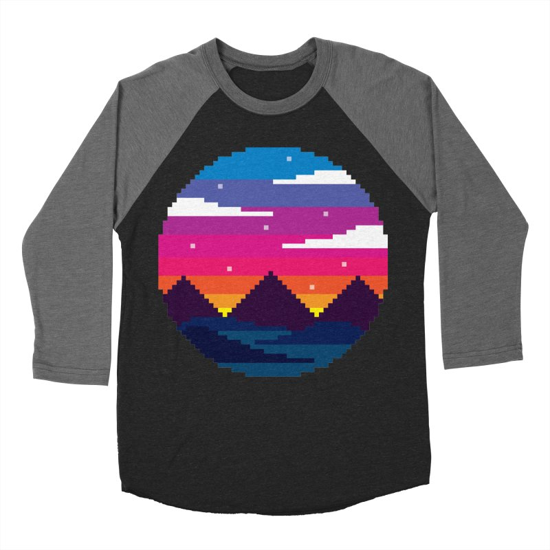 Pixel Sunset Men's Baseball Triblend Longsleeve T-Shirt by Mouki K. Butt: Artist Shop