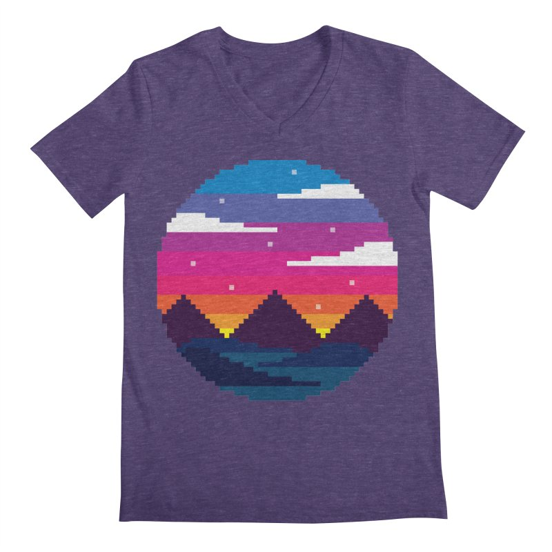 Pixel Sunset Men's V-Neck by Mouki K. Butt: Artist Shop