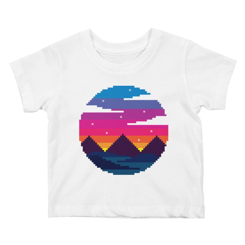Pixel Sunset Kids Baby T-Shirt by Mouki K. Butt: Artist Shop