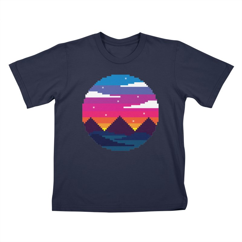 Pixel Sunset Kids T-Shirt by Mouki K. Butt: Artist Shop