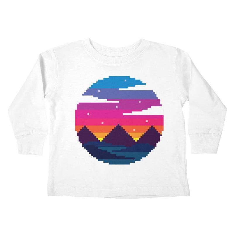 Pixel Sunset Kids Toddler Longsleeve T-Shirt by Mouki K. Butt: Artist Shop